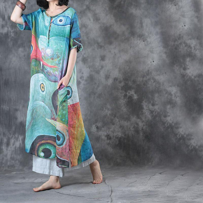 2017 summer blue print linen dresses plus size traveling sundress half sleeve maxi dress