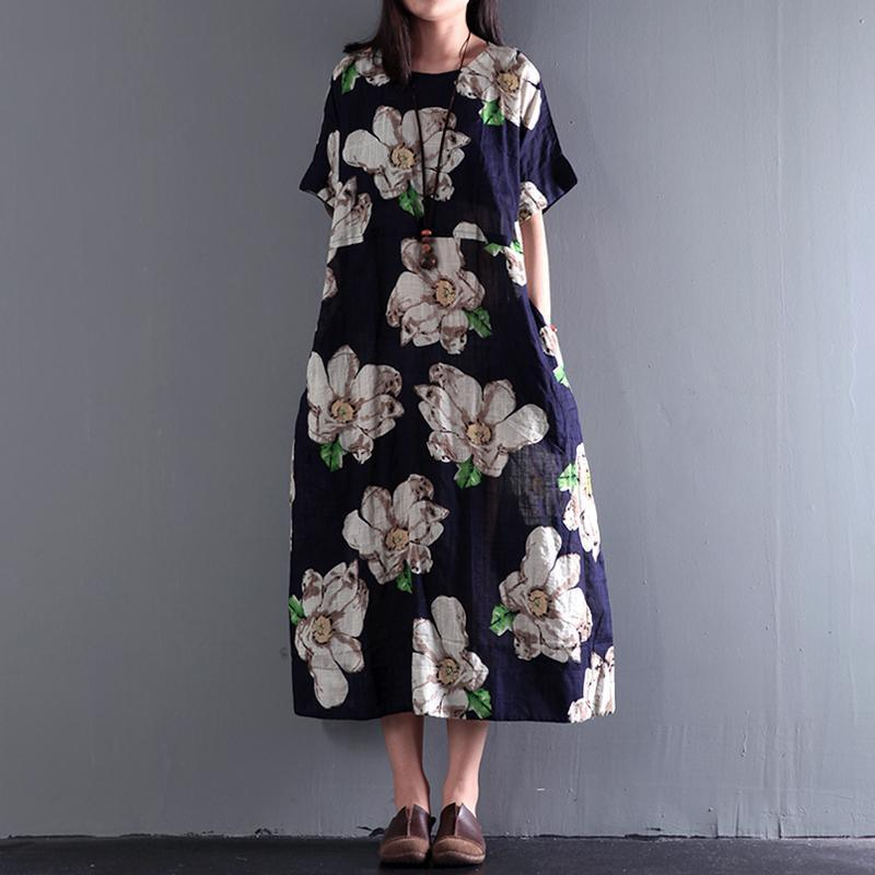 2017 summer floral dresses vintage fine linen maxi dress plus size sundress