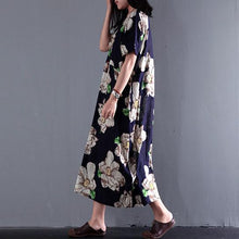 Load image into Gallery viewer, 2017 summer floral dresses vintage fine linen maxi dress plus size sundress