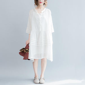 2017 summer linen dresses flowy casual fine linen sundress white linen dresses plus size