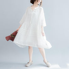 Laden Sie das Bild in den Galerie-Viewer, 2017 summer linen dresses flowy casual fine linen sundress white linen dresses plus size