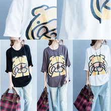 Laden Sie das Bild in den Galerie-Viewer, 2017 summer white print t shirt the shy hippo oversize blouses women cotton tops