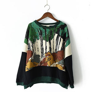 2017 the Jungle print cotton sweat shirt plus size tops women casual oversize blouses