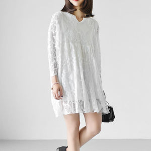 2017 white lace dresses loose casual oversize lace spring dress long sleeve blouses
