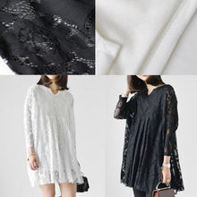 Laden Sie das Bild in den Galerie-Viewer, 2017 white lace dresses loose casual oversize lace spring dress long sleeve blouses