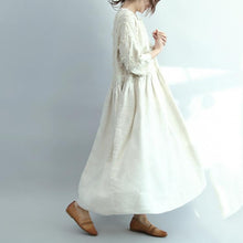 Load image into Gallery viewer, 2017 white linen dresses oversize casual long linen maxi dress traveling dresses