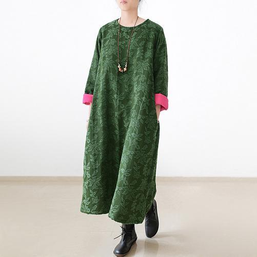 2017 winter green jacquard cotton dresses plus size thick warm maxi dress