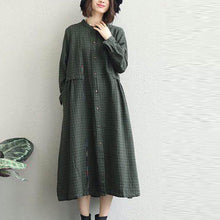 Load image into Gallery viewer, 2018 army green shirt dress oversized lapel collar casual dresses New stand collar shift dress
