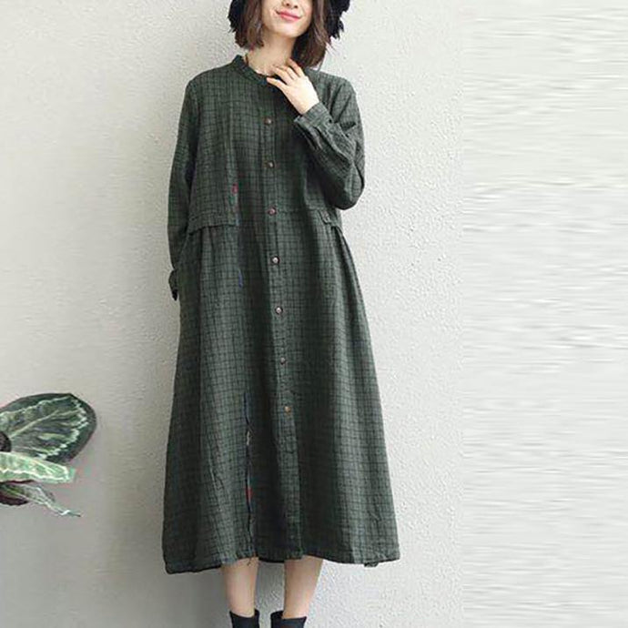 2018 army green shirt dress oversized lapel collar casual dresses New stand collar shift dress