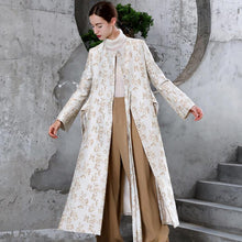 Load image into Gallery viewer, 2018 beige Jacquard Woolen Coat Women oversize maxi coat stand collar asymmetric side open flare sleeve coats