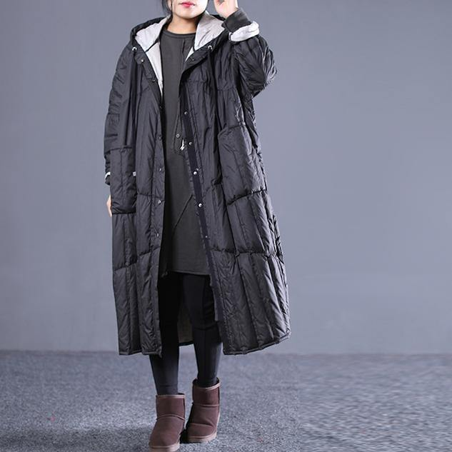 2018 black Outfits plus size hooded drawstring down jacket Elegant pockets down coat