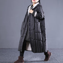 Laden Sie das Bild in den Galerie-Viewer, 2018 black Outfits plus size hooded drawstring down jacket Elegant pockets down coat