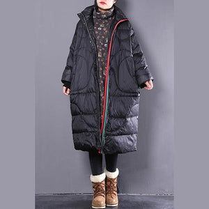 2018 black down coat casual stand collar down coat Elegant pockets zippered overcoat