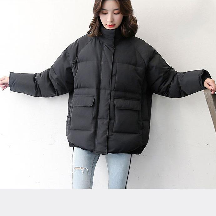 2018 black down coat new high neck down coat pockets fashion down coats