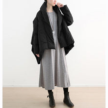 Load image into Gallery viewer, 2018 black down coat plus size high neck pockets down overcoat thick asymmetric trench coat