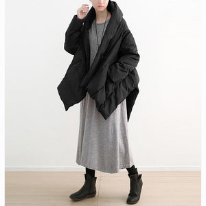 2018 black down coat plus size high neck pockets down overcoat thick asymmetric trench coat