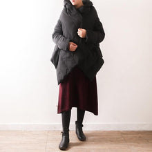 Load image into Gallery viewer, 2018 black down coat plus size high neck thick down coat Warm asymmetric down coat