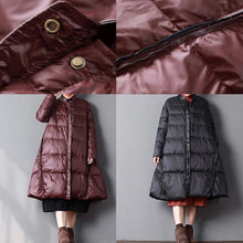 Load image into Gallery viewer, 2018 black down coat winter oversize stand collar pockets large hem down coats