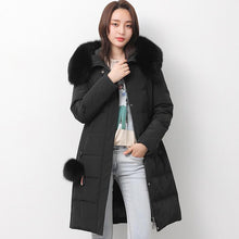 Load image into Gallery viewer, 2018 black down jacket woman trendy plus size fuzzy ball decorated snow jackets fur collar coats