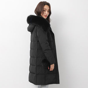 2018 black down jacket woman trendy plus size fuzzy ball decorated snow jackets fur collar coats