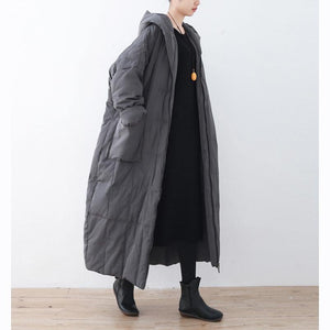 2018 black down overcoat oversized hooded zippered down overcoat Warm pockets baggy coats