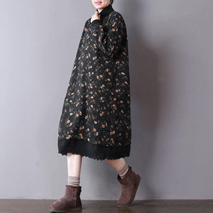 2018 black floral spring dresses oversize gown high neck  cotton clothing pockets dresses