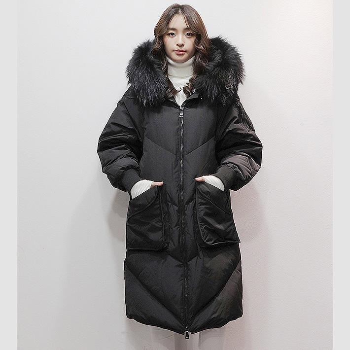 2018 black goose Down coat plus size hooded fur collar winter jacket zippered Jackets
