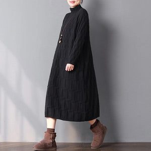 2018 black knit dresses oversize high neck winter dresses baggy long knit sweaters