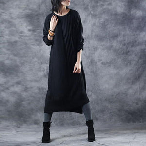2018 black knit dresses oversize o neck long knit sweaters casual asymmetric pullover