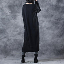 Load image into Gallery viewer, 2018 black knit dresses oversize o neck long knit sweaters casual asymmetric pullover