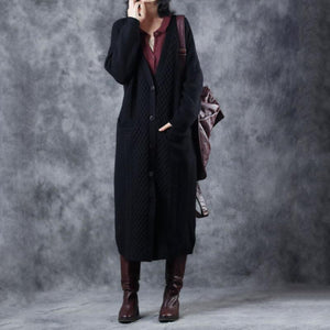 2018 black long knit cardigans sweater coat casual V neck maxi coat top quality pockets trench coat