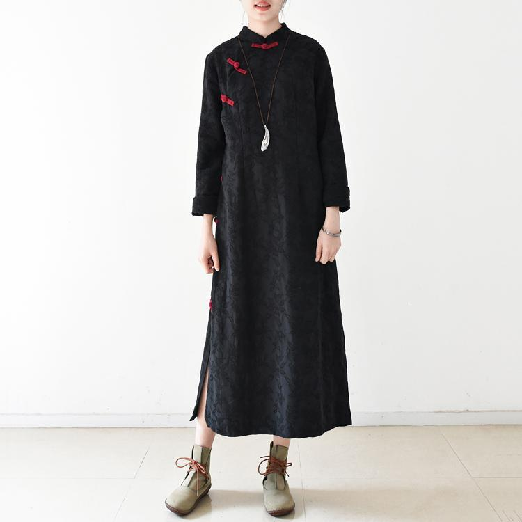 2018 black long cotton linen dresses oversize kaftans v neck Chinese Button side open Jacquard clothing dresses