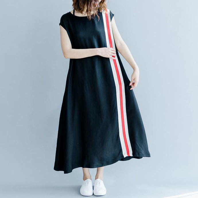 2018 black patchwork silk blended maxi dress plus size O neck baggy dresses traveling clothing women Sleeveless pockets maxi dresses