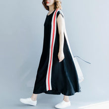 Load image into Gallery viewer, 2018 black patchwork silk blended maxi dress plus size O neck baggy dresses traveling clothing women Sleeveless pockets maxi dresses