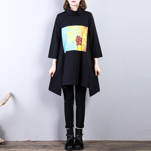 2018 black prints cotton dresses Loose fitting holiday dresses side open women low high design cotton dress