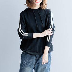 2018 black pure cotton blouse oversized traveling clothing Fine slim hooded cotton blouses