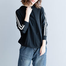 Load image into Gallery viewer, 2018 black pure cotton blouse oversized traveling clothing Fine slim hooded cotton blouses