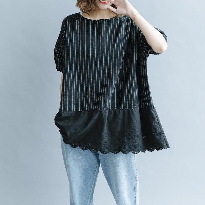 2018 black striped cotton linen t shirt plus size clothing cotton linen clothing blouses casual half sleeve hollow out O neck patchwork tops