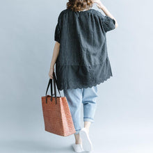 Load image into Gallery viewer, 2018 black striped cotton linen t shirt plus size clothing cotton linen clothing blouses casual half sleeve hollow out O neck patchwork tops
