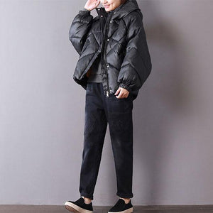 2018 black women oversized hooded warm winter coat New thick zippered winter coats
