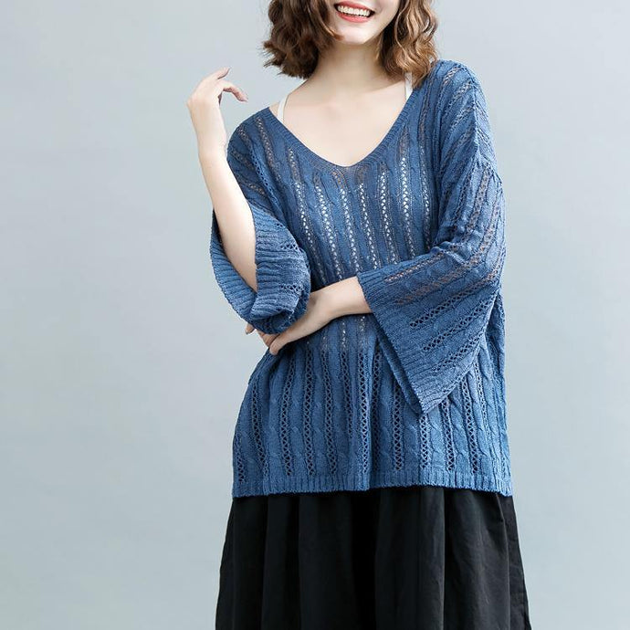 2018 blue  winter sweater oversized v neck knitted blouses New hollow out blouse
