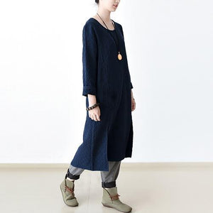 2018 dark blue cotton maxi dress oversized long dress O neck  casual clothing side open dresses