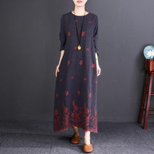 Load image into Gallery viewer, 2018 dark gray embroider fabric linen caftans oversized O neck baggy dresses caftans Elegant long sleeve dresses