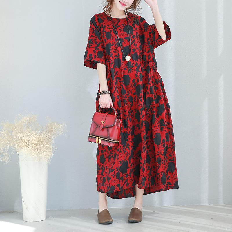 2018 floral  long cotton dresses plus size O neck baggy dresses cotton clothing dress top quality short sleeve tie waist cotton dress