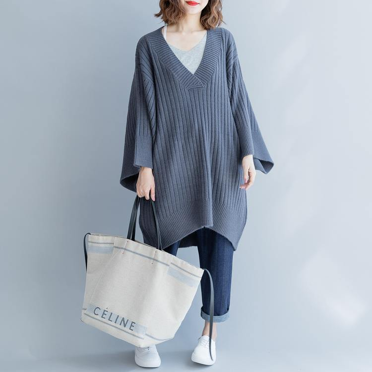 2018 gray cozy sweater casual big v neck knitted blouse New loose sleeve winter tops