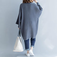 Load image into Gallery viewer, 2018 gray cozy sweater casual big v neck knitted blouse New loose sleeve winter tops