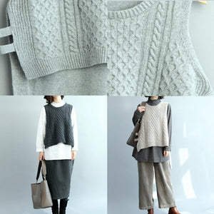 2018 gray knit sweaters trendy oversize side open sleeveless tops casual low high design blouse