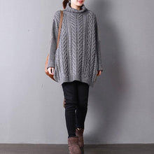Load image into Gallery viewer, 2018 gray knit tops fall fashion knit sweat tops high neck side open sweaters