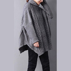 2018 gray knit tops fall fashion knit sweat tops high neck side open sweaters