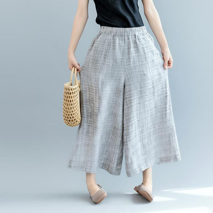 2018 gray linen wide-leg pants plus size casual elastic waist pants